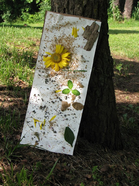 Take a sheet of contact paper, or some regular paper painted with glue, and make a summery collage by sticking natural materials to it. You can make the stick more permanent by covering with spray adhesive later.