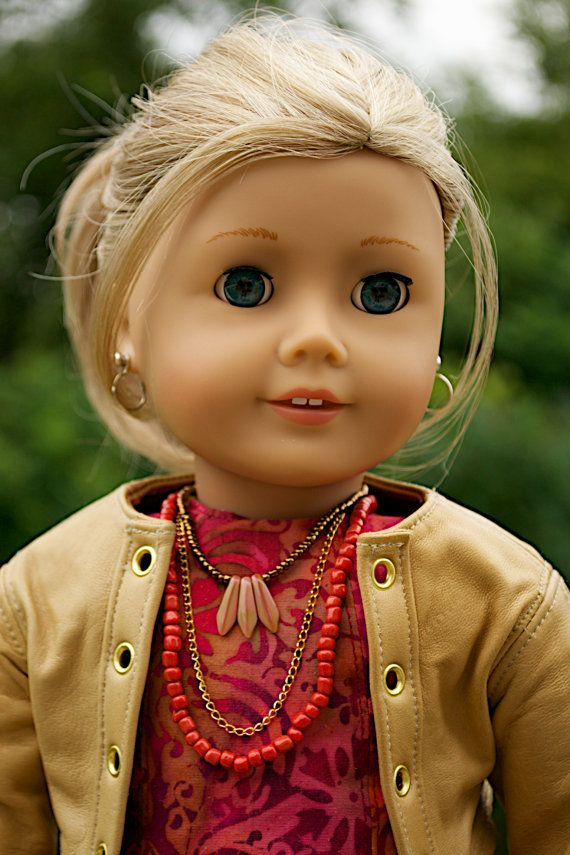 American Girl  Doll Clothing. 18 Inch Doll Clothing. Batik dress and Leather Jacket ensemble.