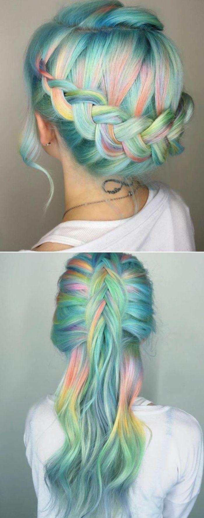 comment faire des tresse collée, jolie coiffure couronne tresse sur cheveux pastels