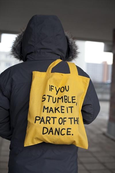 "Jutebeutel // Tote bag ""If you stumble, make it part of the dance"" by this-is-it via DaWanda.com"
