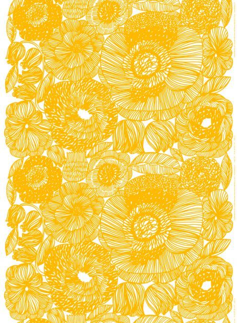 Marimekko inspiration. I love the overwhelming detail that gets balanced with the simplicity of a single color. I also love this marigold.