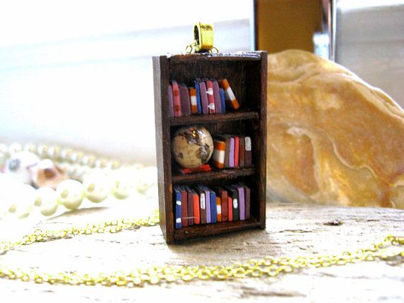 World Traveller's Bookshelf Necklace with Globe by Coryographies