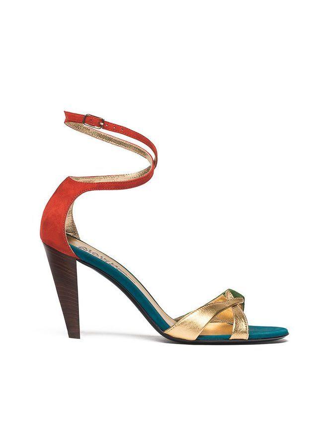 Sandales sexy rouge vert or Michel Vivien