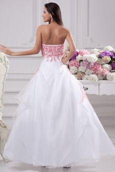 Πριγκίπισσα Οργάντζα Φερμουάρ επάνω Ορθογώνιο Ρομαντικό Στράπλες Νυφικά φόρεμα