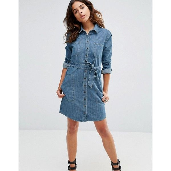 ASOS Denim Belted Shirt Dress in Anouki Mid Stonewash Blue ($53) ❤ liked on Polyvore featuring dresses, blue, denim shirt dress, blue denim dress, t-shirt dresses, blue shirt dress and asos dresses