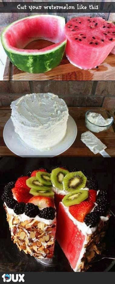 """Watermelon and fruit """"cake"""" No recipe with this pic, but I like to blend a jar of marshmallow fluff with a brick of cream cheese to create a delicious fruit dip. It would work perfectly for this idea."""