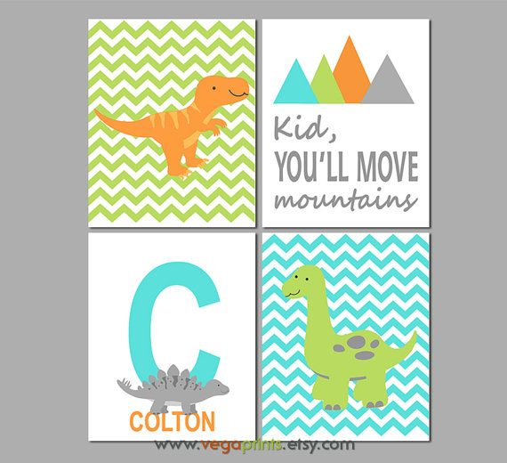 Turquise blue green and orange dinosaur nursery art by VegaPrints