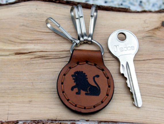 Keychain Key Fob KeyHolder Lion  Personalized Natural Leather  Monogram Leo Keyring carabiner Gift for Him Her Boyfriend Father Mother