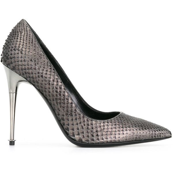 Tom Ford - classic pointed toe pumps - women - Leather/Python Skin -... ($1,360) ❤ liked on Polyvore featuring shoes, pumps, grey, pointed toe shoes, tom ford pumps, gray shoes, gray pumps and grey pumps