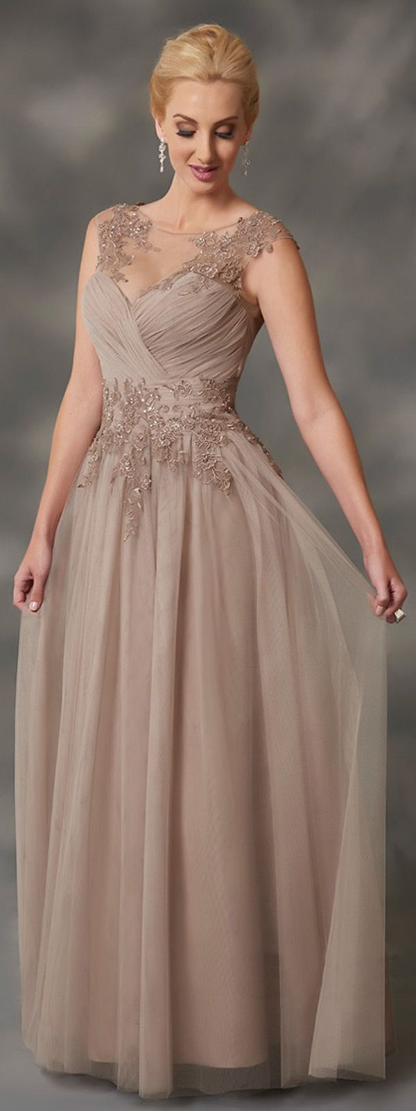 Great Outstanding Tulle Bateau Neckline A line Mother Of Bride Dresses With Beaded Lace Appliques u
