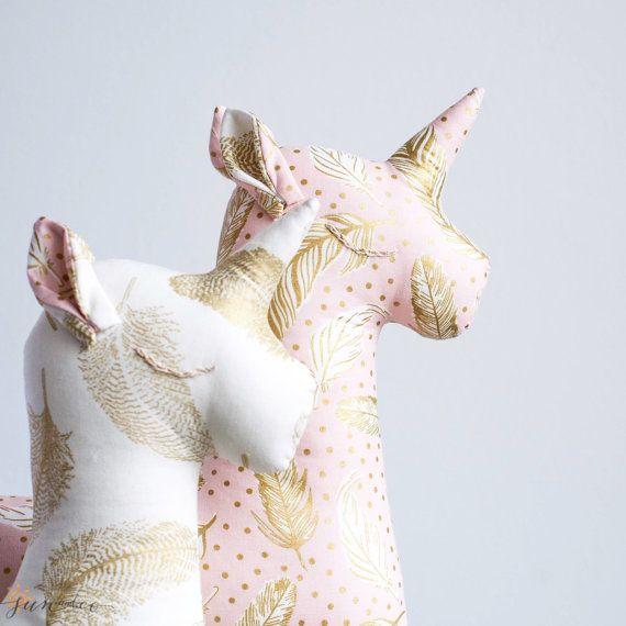 Lux Stuffed Unicorn Toy-Animal Pillow-Unicorn Toy-Gold by SUNandCo