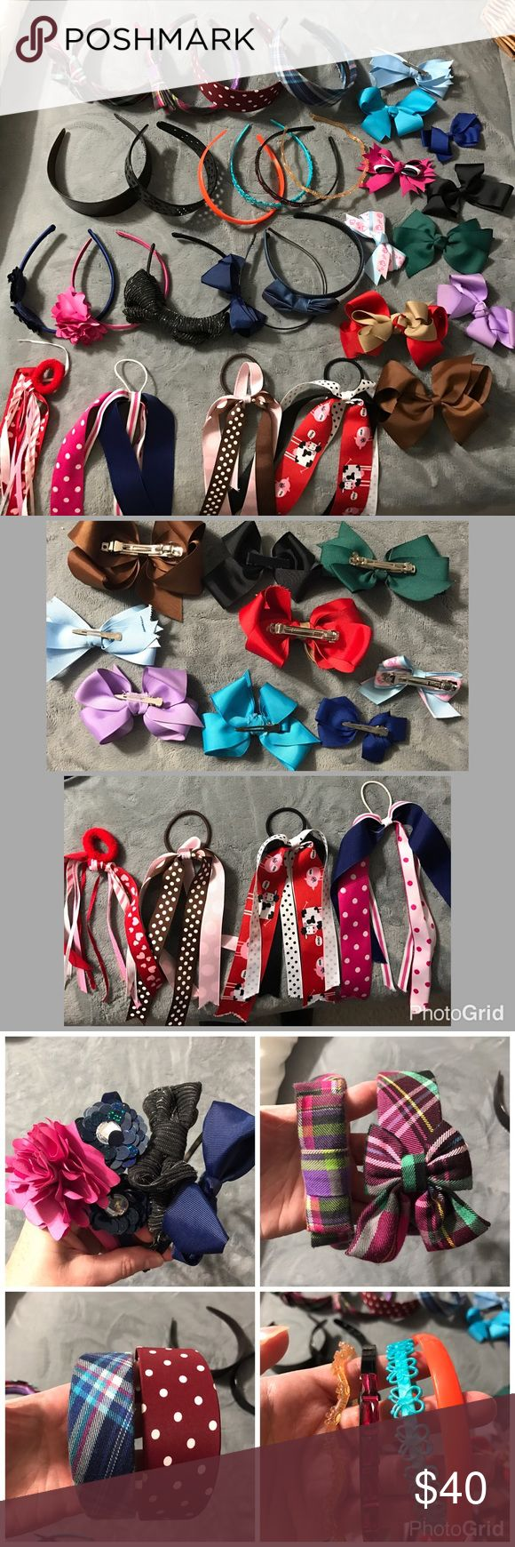 Girls Assorted Hair Things...Bows, Headbands etc 33 total used hair things...7 wide headbands, 4 skinny headbands and 7 skinny headband with bows or flower on one side. 10 bows of assorted sizes(see pic 2 for backs/closures) 4 ribbon ponytail bands and 1 beaded one....priced to sell bundle to save more plus ⚡️📦📫😁💕 Accessories Hair Accessories