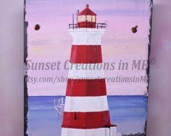 Nova Scotia, Lighthouse, Lighthouse Decor, Beach Decor, Brier Island, Lighthouse Art, Lighthouse Gift, Canada, Hand Painted, Acrylic Artwork