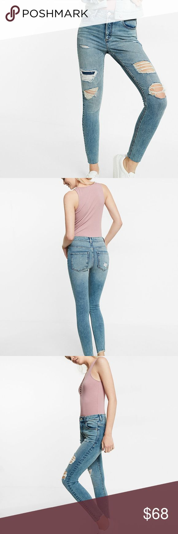 NWT Express High Waisted Destroyed Ankle Jeggings High waisted, soft and sexy, these stretch jean leggings serve up a versatile wash in a sleek, second-skin fit. Stylish destruction lends effortlessly cool style to any look, whether you're brunching with the girls or grabbing afternoon coffee.   Color: Medium Wash 19 High waisted One button closure with zip fly; Five pocket styling Distressed detailing; Raw hem; Ankle length Stretch: Just enough stretch for all-day comfort…