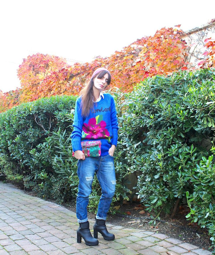 #knit #knitwear #fashion #blu #lifestyle #outfit #winter #desigual #fidenzavillage #jeans #sorel #boots #pochette