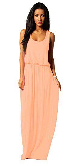 Damen Kleid Maxikleid Bodenlang Sommer Urlaub Boho Stil Neon SML 36 38 40 (369) (Apricose)