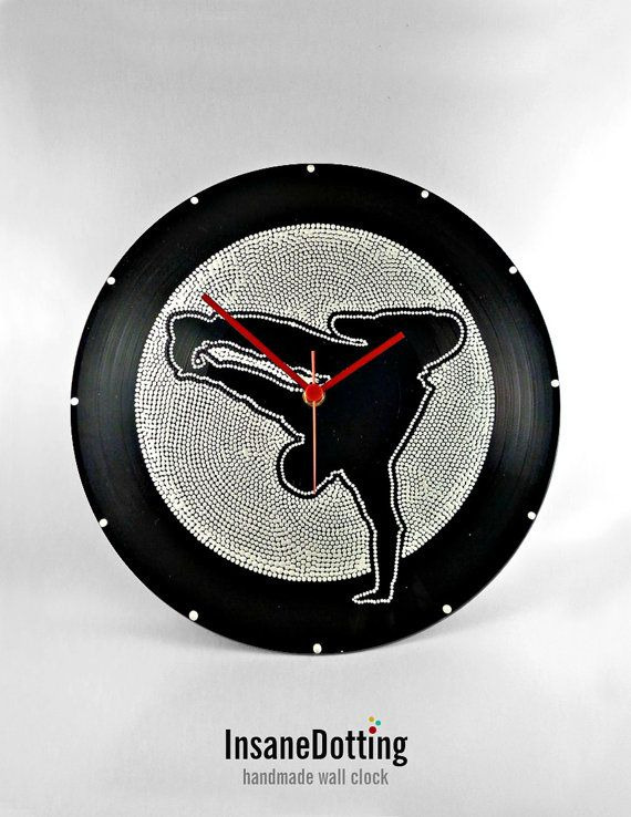 Breakdance Vinyl Clock Hand Painted Black&White by InsaneDotting