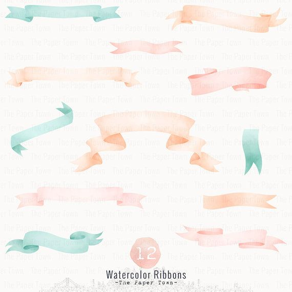 Watercolor Ribbon Banner, Digital Watercolor Ribbon Banners, 12 Mint and Blush Wedding Banners Clipart Set - Instant Download - PNG