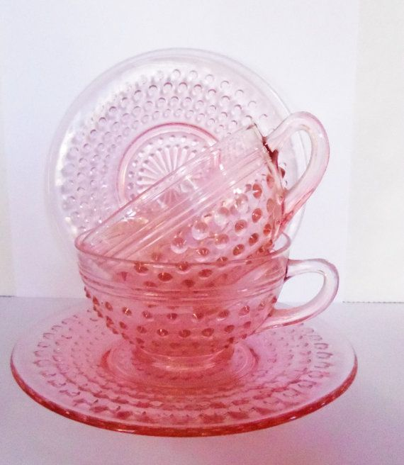 Depression Glass Pink Hobnail Cups and Saucers 1930s mi collect this stuff..... If anyone has any they don't want!!!