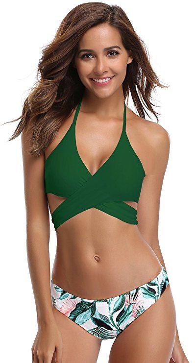 e70bf4ad772 SHEKINI Womens Bathing Suits Floral Printing Swim Bottoms Padded Halter  Bandage Bikini Two Piece Swimsuits