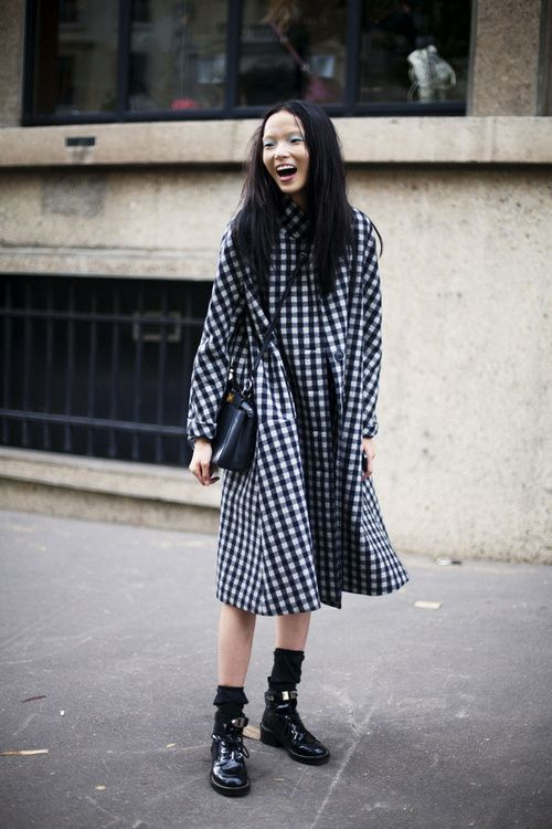 Oversized gingham dress.