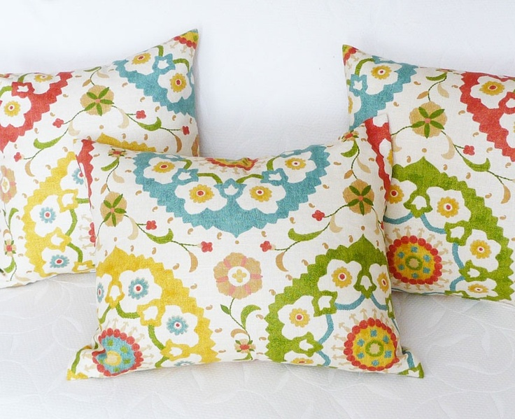 Colorful Suzani Pillow Covers, Decorative  Designer Accent Throw Toss Cushions, Cream with Turquoise Red Yellow Green Medallions, 16x16. $35.00, via Etsy.
