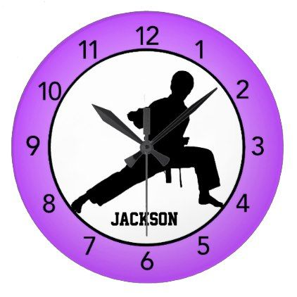 Martial Arts Karate Purple Wall Clock - black gifts unique cool diy customize personalize