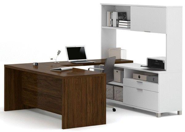 Bestar - Pro-Linea White & Oak Barrel U-Desk With Hutch - 120880-30