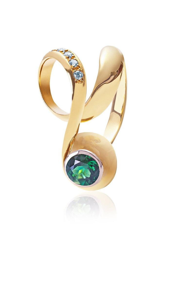 18Ct gold Infinity ring set with a vivid green tourmaline and diamonds