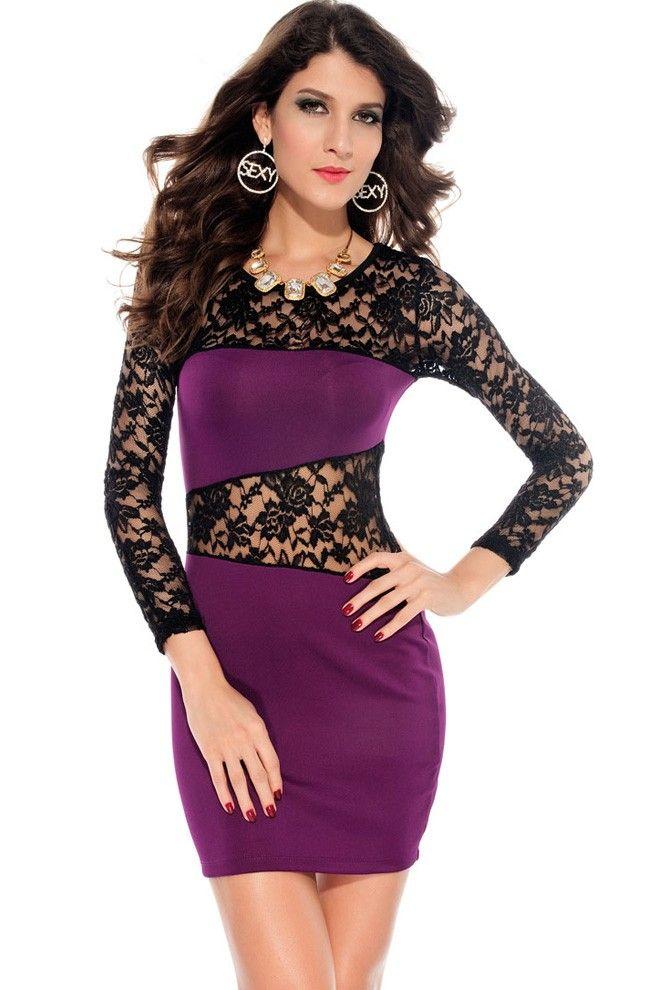 Women S Lace Sexy Tight Dress 3 Color Black Dark Purple