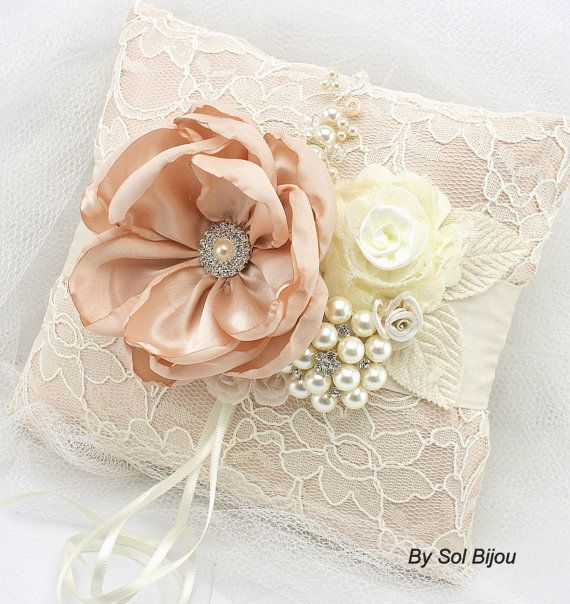 Ring Bearer Pillow, Blush, Cream, Ivory, Vintage Wedding, Elegant Wedding, Jeweled, Lace Pillow, Brooch, Crystals, Pearls, Gatsby