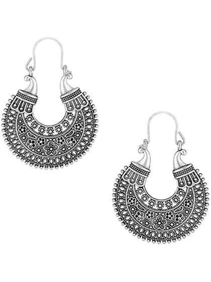 Oxidised Silver Plated Hanging Hoop Earrings Only On Julymarvels Wooplr