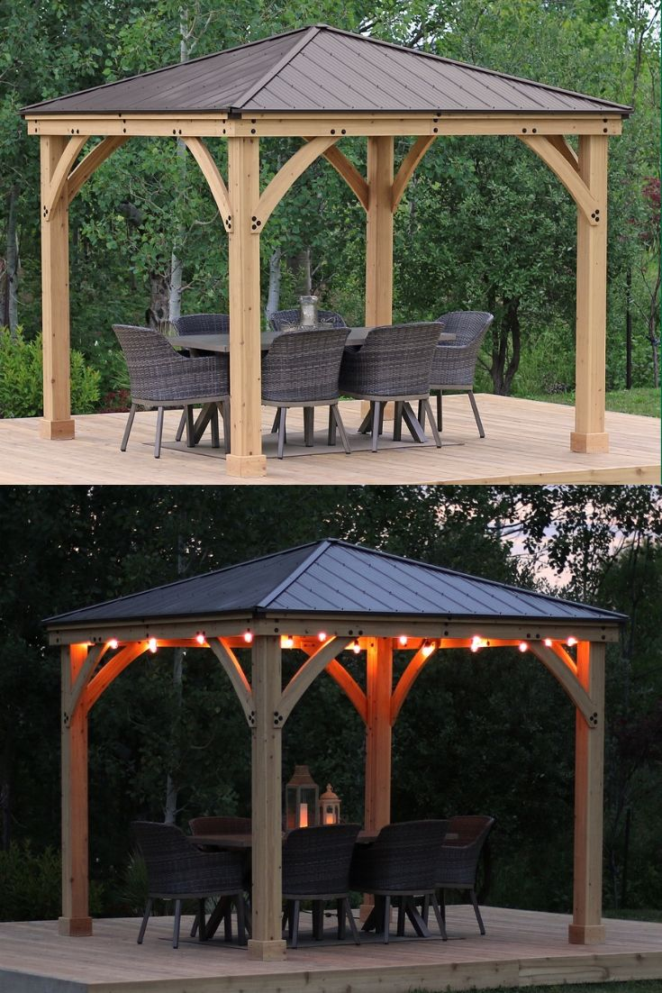 Add More Usable Space To Your Yard With Yardistry S Meridian Gazebo Series Find The Size That Works For You 10x10 12x12 Gazebo Backyard Outdoor Structures