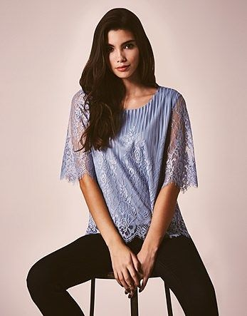 Womens light blue grey vila vilasso lace top from Lipsy - £25 at ClothingByColour.com