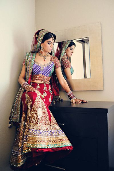 Red and blue lengha