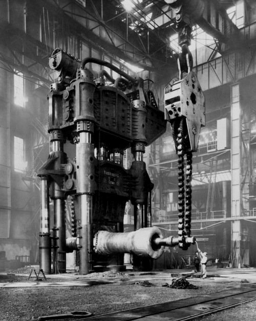 Forging Press in the Krupp Factory. Essen, Germany 1928
