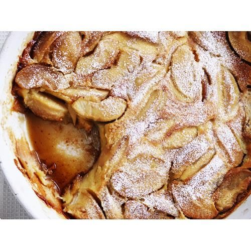 """Caramelised apple clafoutis recipe - By Australian Women's Weekly, Clafoutis is originally from the Limousin region of central France where, in the local dialect, it translates as """"brimming over"""". It is one of the easiest desserts to make: a sweet batter is poured into a baking dish """"brimming"""" with cherries, prunes or the fresh fruit of your choice, and baked. Traditionally, cherries native to the region were used."""