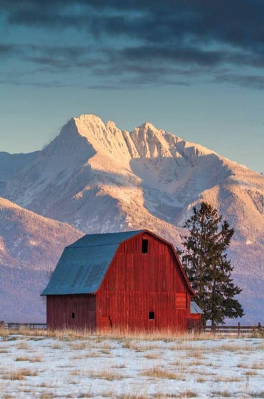 Winter Barn in the Mountains