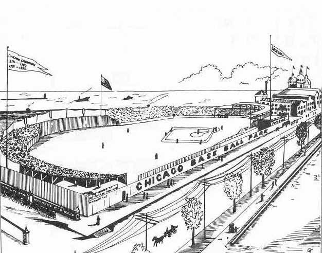 Lakefront Park, aka Union Baseball Grounds, Michigan and Randolph, 1878 Chicago. The Chicago White Stockings (Cubs) began play on this site in 1870. After the park burned in the Great Fire in 1871, the club did not return to the site until 1878 when...