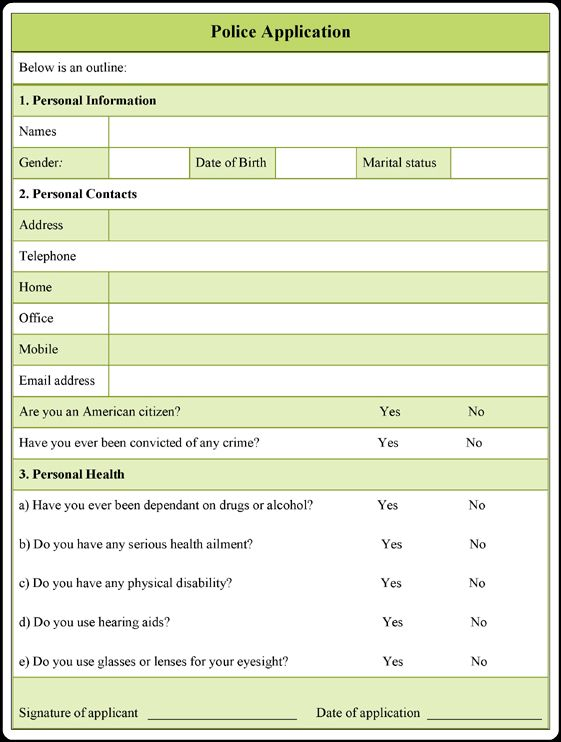 download this printable police application form example in microsoft word  pdf and open office