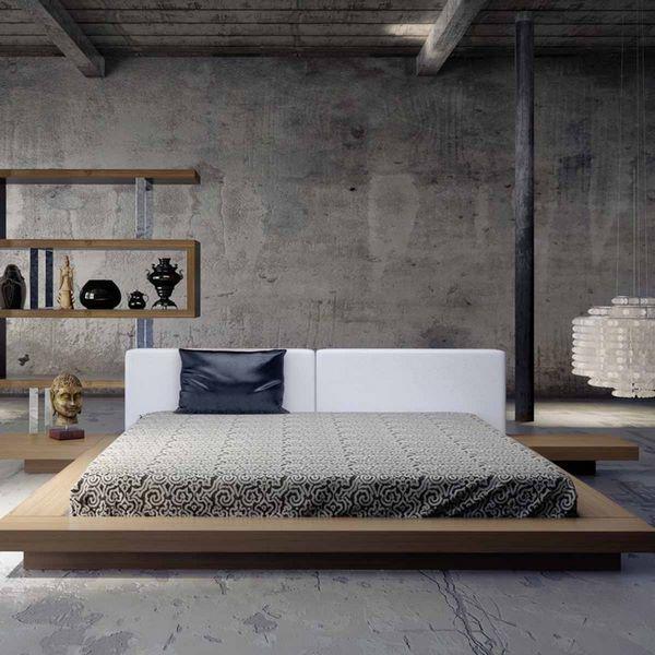 masculine bed frames wooden low platform bed concrete walls #interior #bedroom