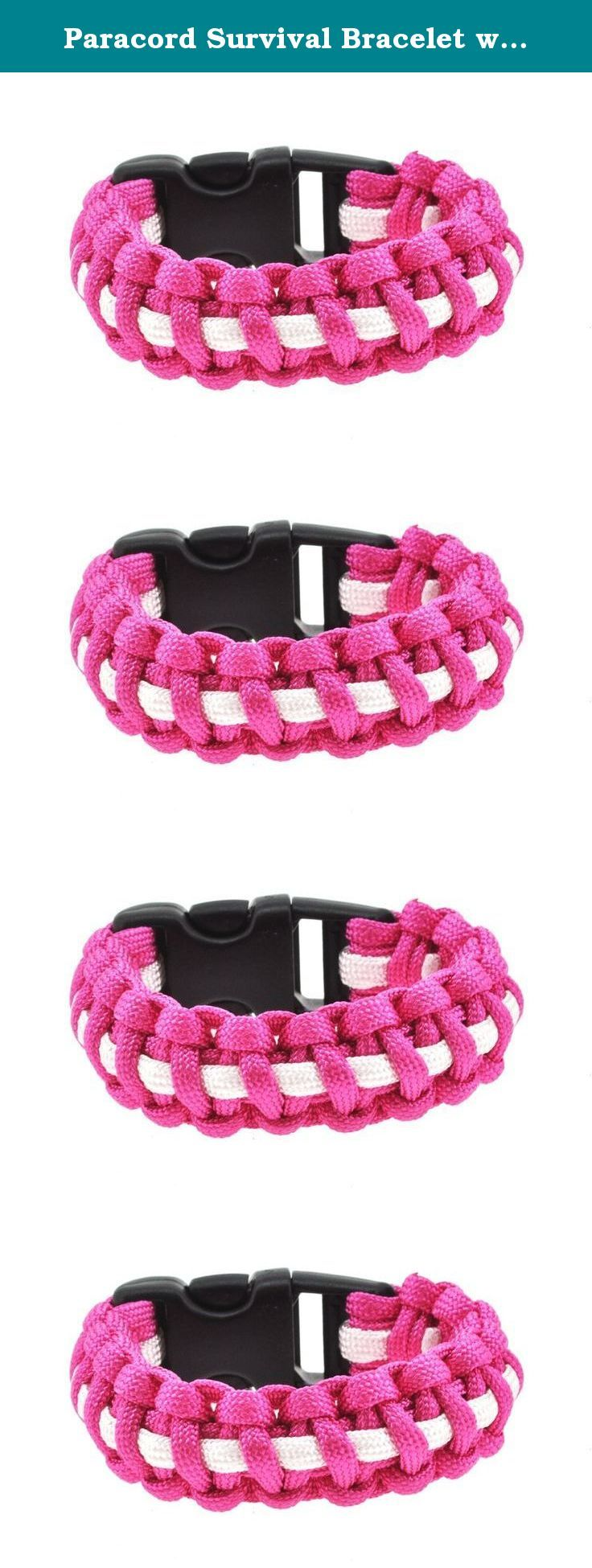 Paracord Survival Bracelet with Strong Buckle, 7 Inches (Pink and White). This paracord survival bracelet is functional and stylish. Although paracord bracelets are currently in style, many are clueless about the many uses of these fashionable bracelets. Survival bracelets can be used in emergency situations, for camping, to set traps, to build a makeshift tent, or to climb up or down hills. Each survival bracelet unravels into a long rope that can withstand a lot of force. Each bracelet…