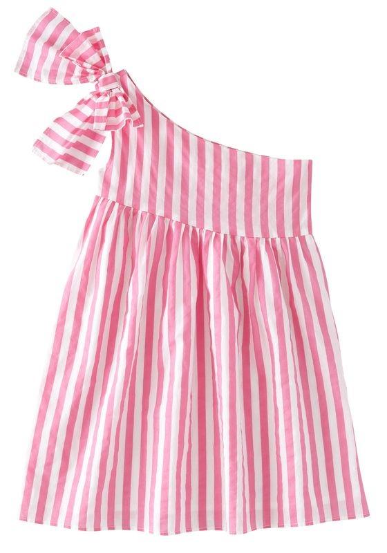 PInk Striped One Shoulder Dress #FabKids https://www.fabkids.com/shop?category=all_medium=Pinterest_source=PinProduct_campaign=SummerFun_051513 #FabKidsSummerFun