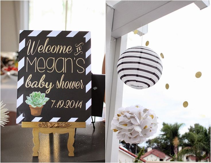Welcome Baby Shower Sign - black white and gold