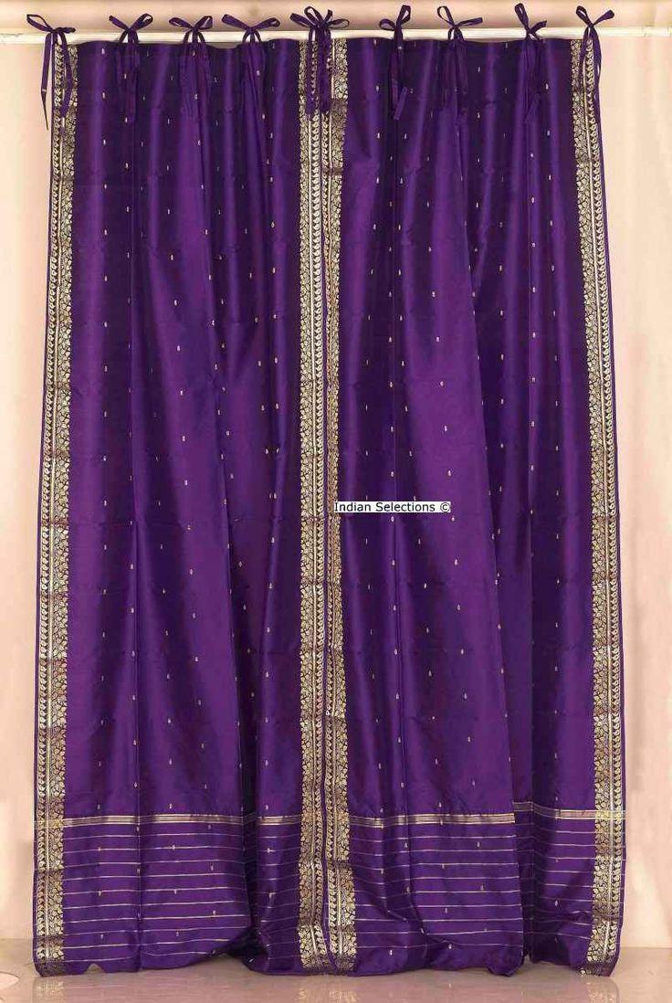 Purple silk curtains - Purple Tie Top Ribbon Top Purple Silk Sari Fabric Drapes Panels Curtains