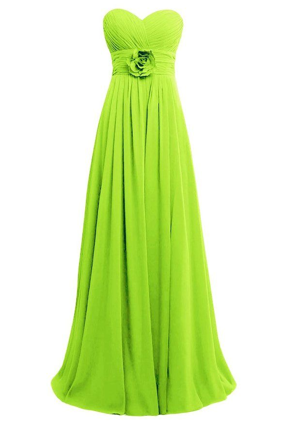 ORIENT BRIDE Sweetheart Boho Bridesmaid Dress Long Chiffon Beach Wedding Dresws Size 6 US Lime Green