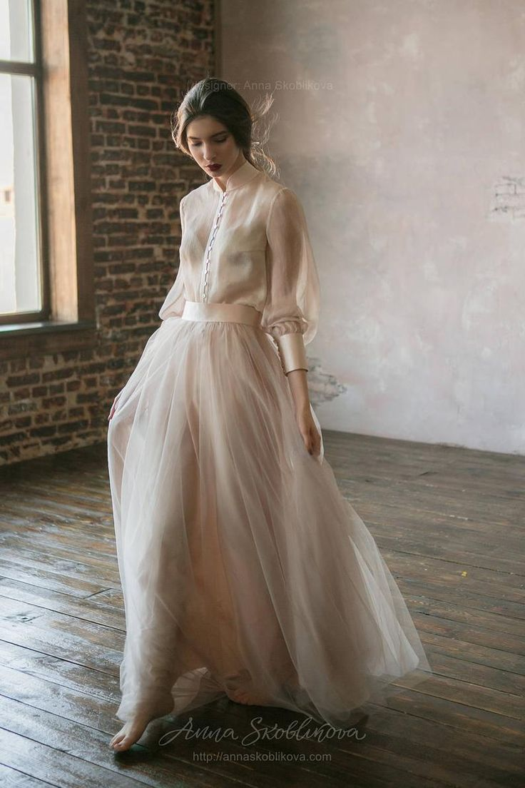 Vintage wedding dress from natural silk and blush tulle skirt. Victorian wedding dress, summer wedding dress, simple wedding dress 0134
