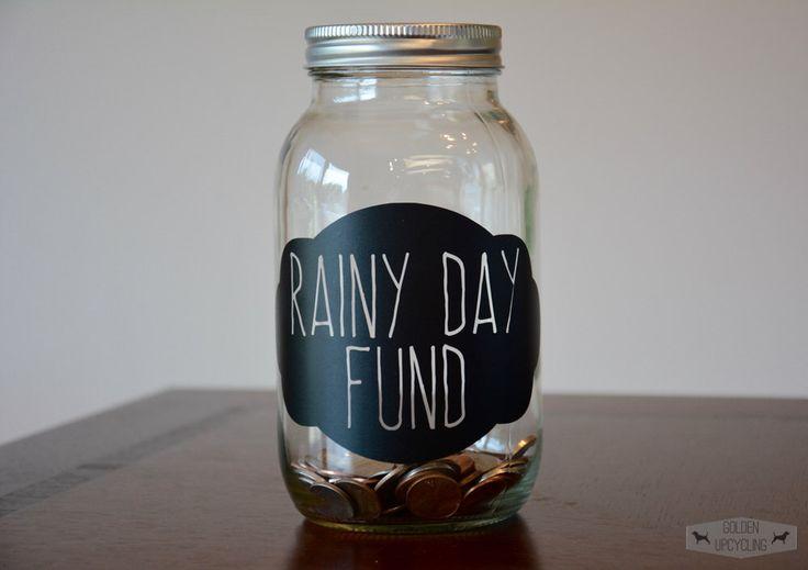 Rainy Day Fund Piggy Bank Mason Jar, Rainy Day Mason Jar, Piggy Bank by GoldenUpcycling on Etsy https://www.etsy.com/listing/242288366/rainy-day-fund-piggy-bank-mason-jar