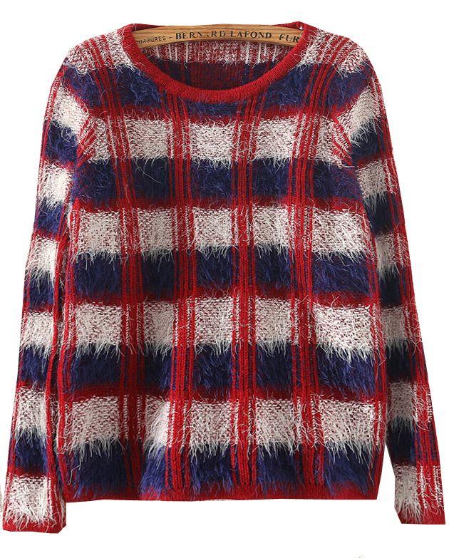 Blue Long Sleeve Plaid Mohair Sweater - Sheinside.com