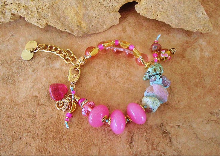 Pink and Gold Bracelet, Turquoise Hand Knotted Art Bracelet, Boho Chic, Glamour Bracelet, Original Handmade Bohemian Jewelry by Kaye Kraus by BohoStyleMe on Etsy